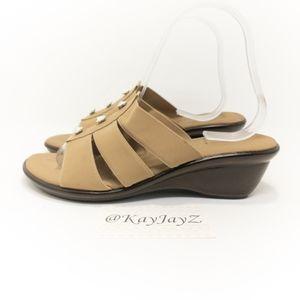 Onex Beige Wedge 3 Stone Sandal